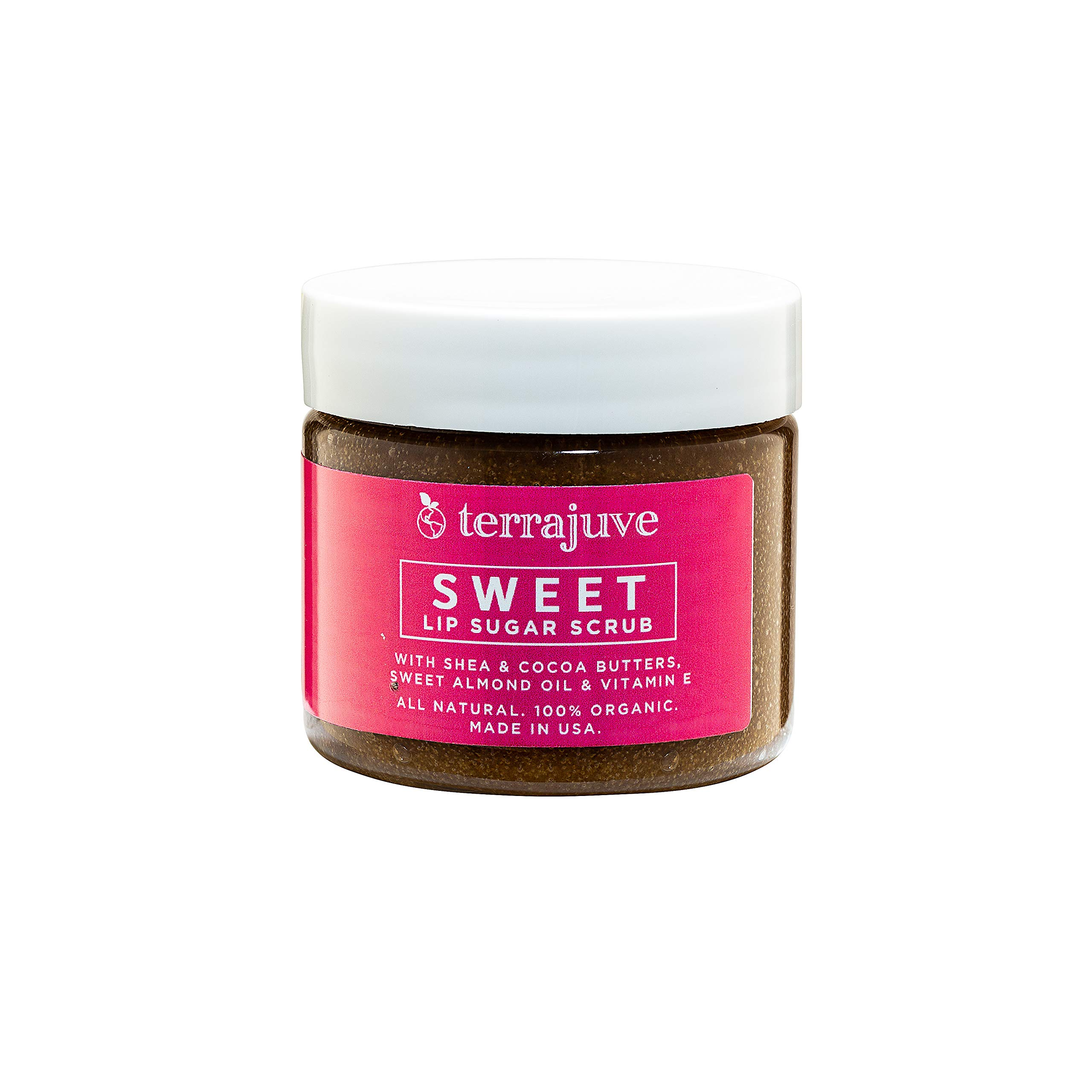 Sugar Lip Scrubs Treatment by Terrajuve, Lips Scrub Exfoliator and Moisturizer, with Shea and Cocoa Butter, Raw, Organic, Pure, All Natural, Made in USA by Terrajuve