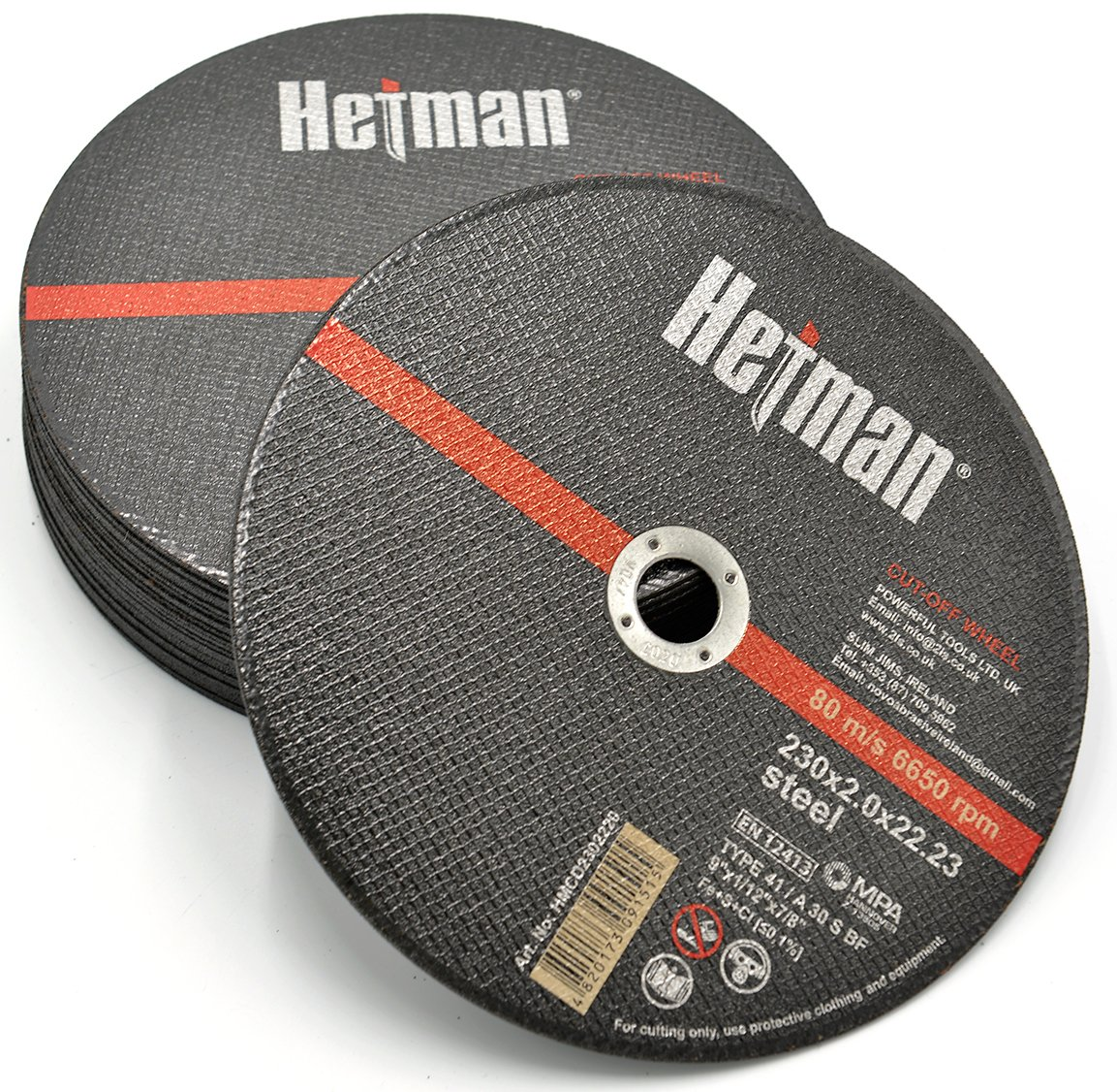 HETMAN Metal Cutting Discs 115mm x 1mm (PACK OF 10 PCS) For Angle Grinder Use For Metal, Stainless Steel, Steel and Non-Ferrous Metals Novoabrasive.com HMCD1152210