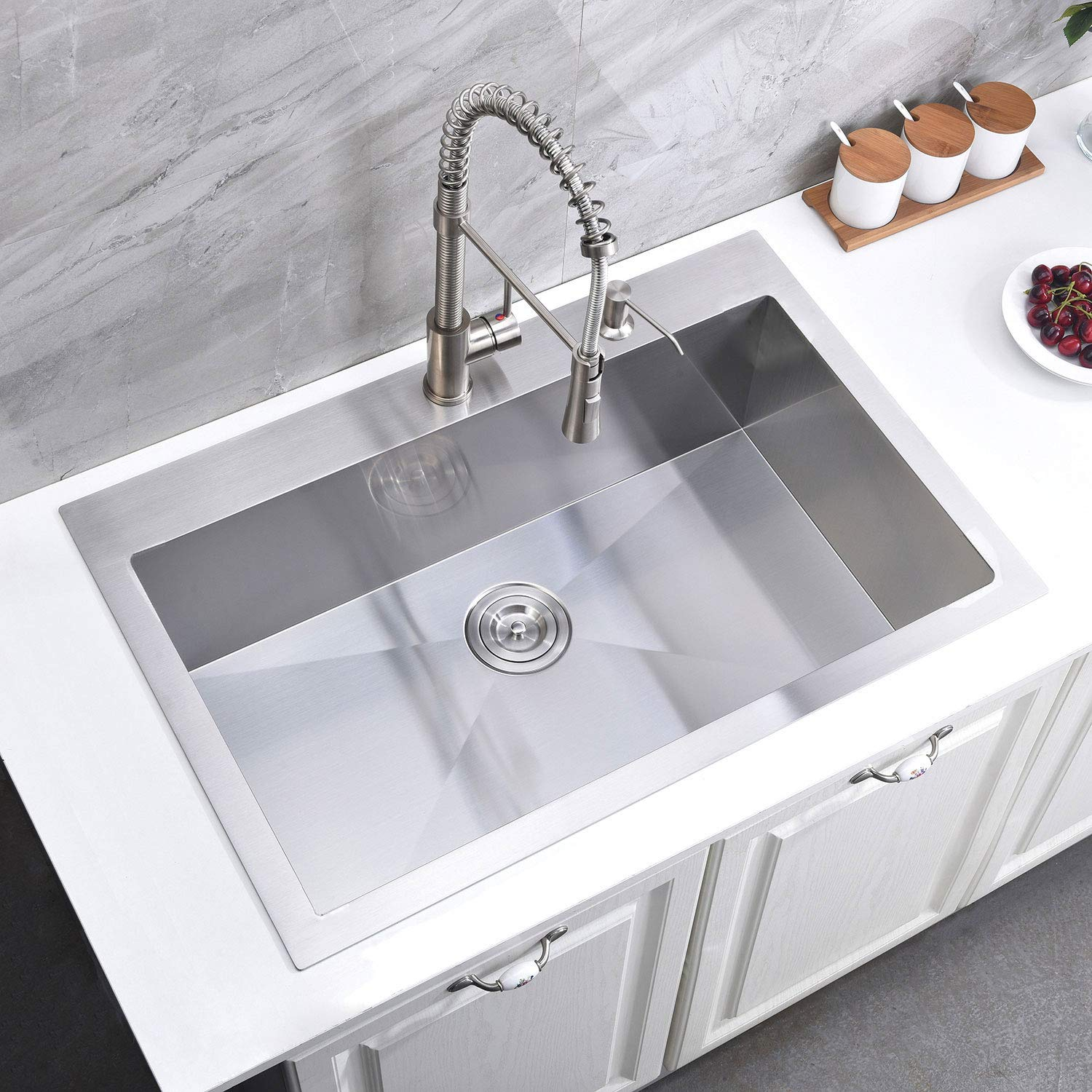 KINGO HOME Commercial 33''x 22'' Inch 10 Inch Extra Deep Handmade Top Mount T304 Stainless Steel Drop-In Single Bowl Kitchen Sink by KINGO HOME (Image #2)