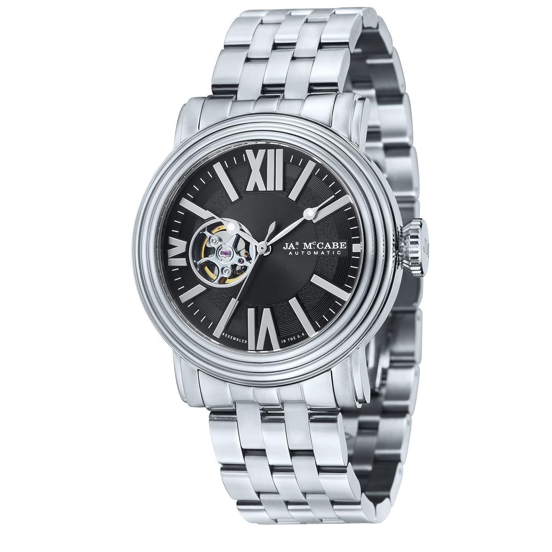 James McCabe Herren jm-1018–11 Victory Analog Display Offenes Herz Automatische Silber Armbanduhr