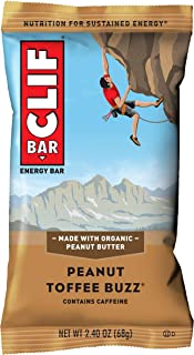 product image for CLIF BAR - Energy Bars - Peanut Toffee Buzz - With Caffeine (2.4 Ounce Protein Bars, 12 Count)