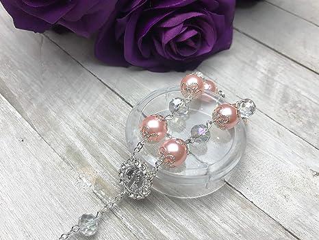 12 Pearls cross bracelet wedding baptism communion quinceanera party favors PINK