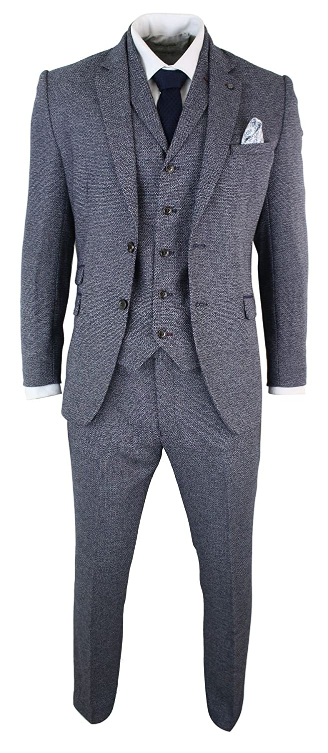 1920s Mens Suits | Gatsby, Gangster, Peaky Blinders Marc Darcy Mens 3 Piece Herringbone Tweed Tailored Fit Blue Grey Formal Suit Peaky Blinders $149.99 AT vintagedancer.com