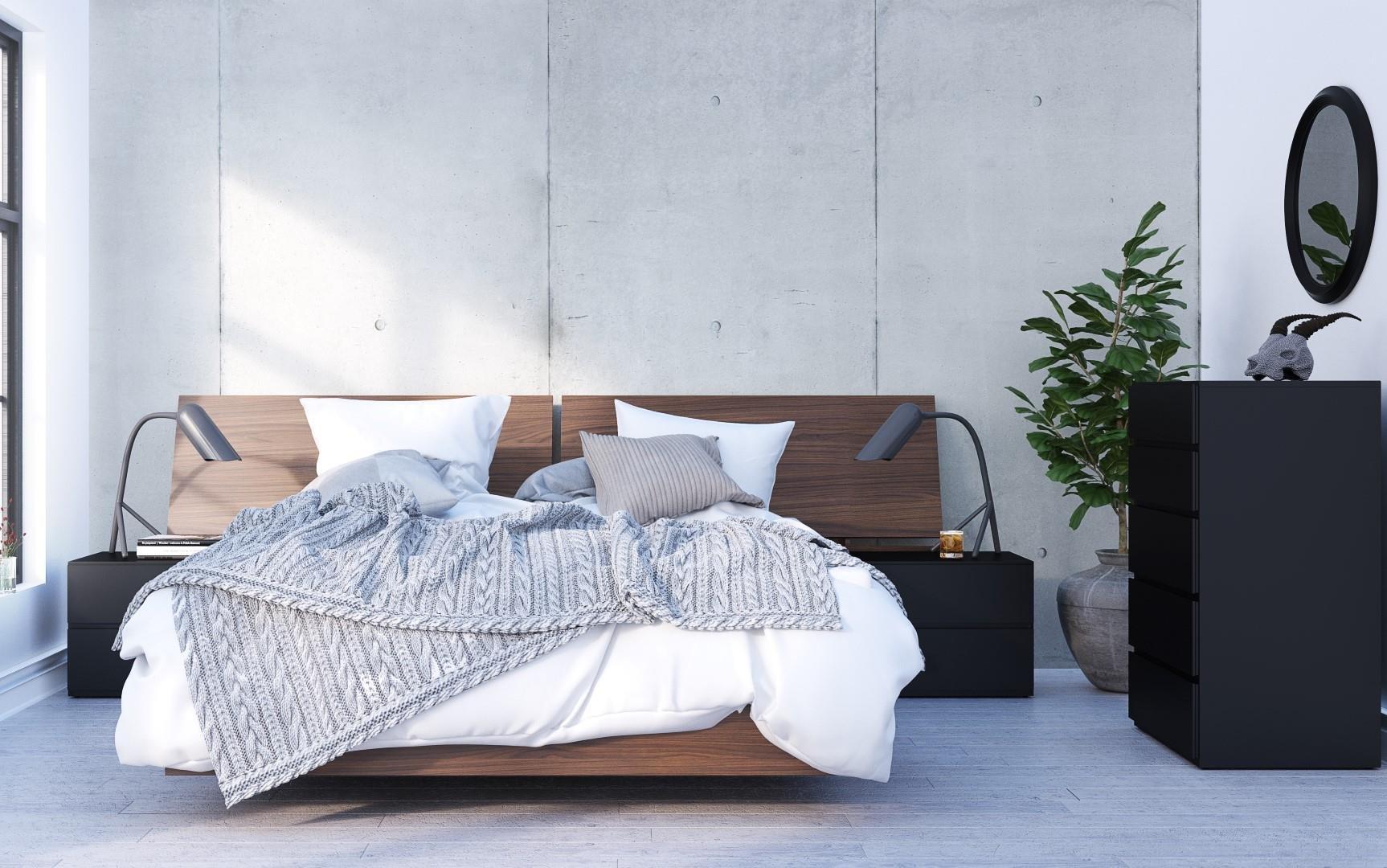 Nexera Sonoma 5 Piece Queen Size Bedroom Set Walnut and Black