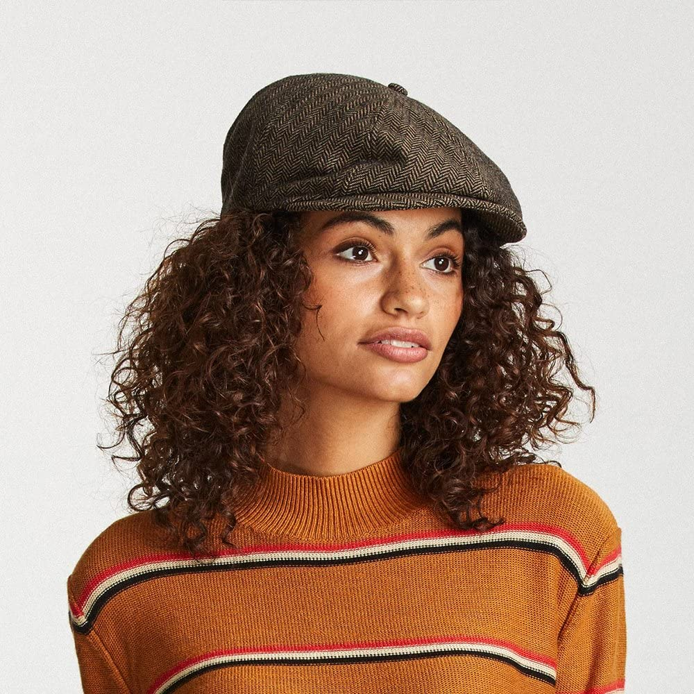 Brown//Khaki Herringbone Brixton Hats Brood Newsboy Cap