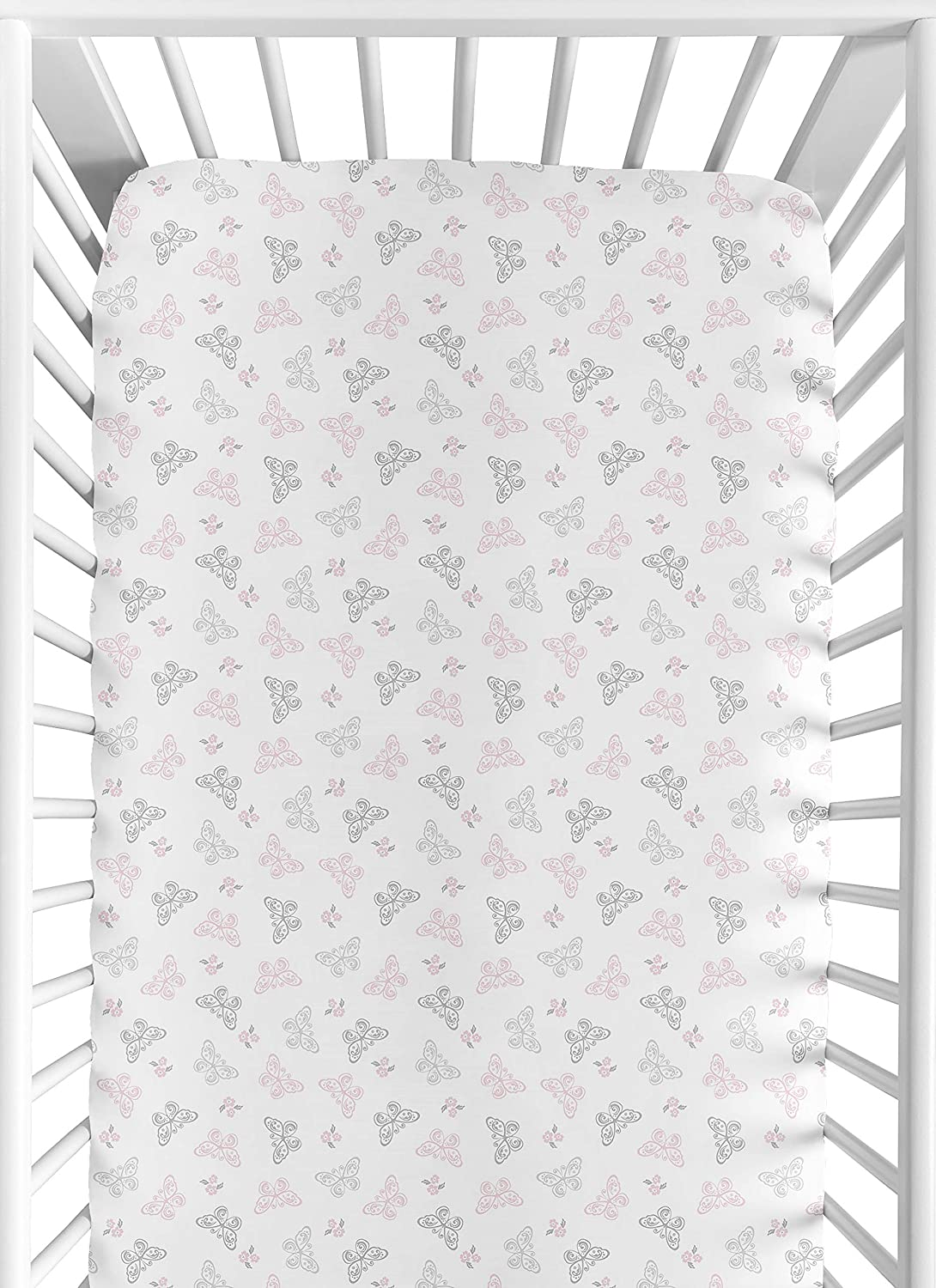 Sweet Jojo Designs Fitted Crib Sheet for Shabby Chic Alexa Baby/Toddler Bedding - Butterfly Print