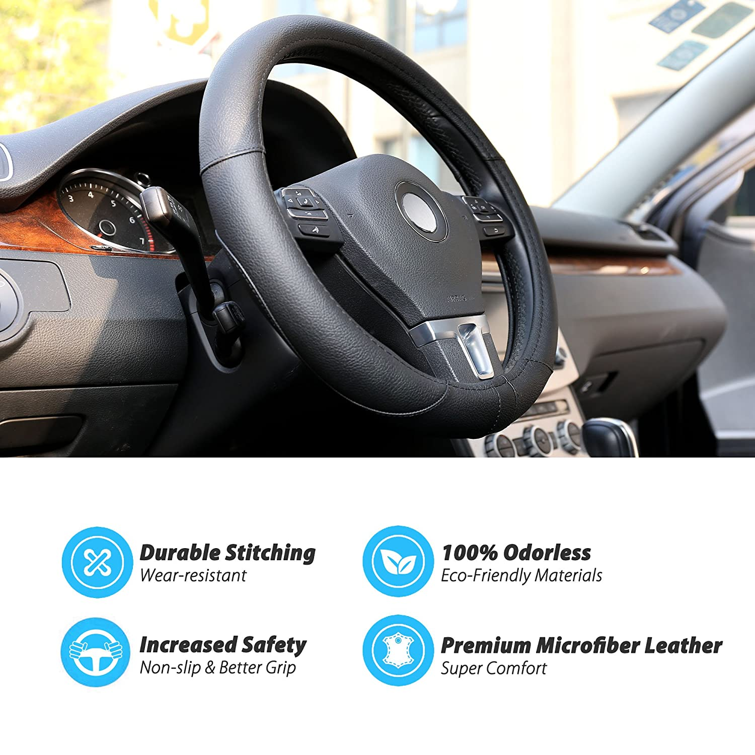 Breathable Universal 15 inch with Microfiber Leather for Truck Non-Slip Grip SUV LotFancy Car Steering Wheel Cover for Men Boys Tan Odor-Free Black /& Blue