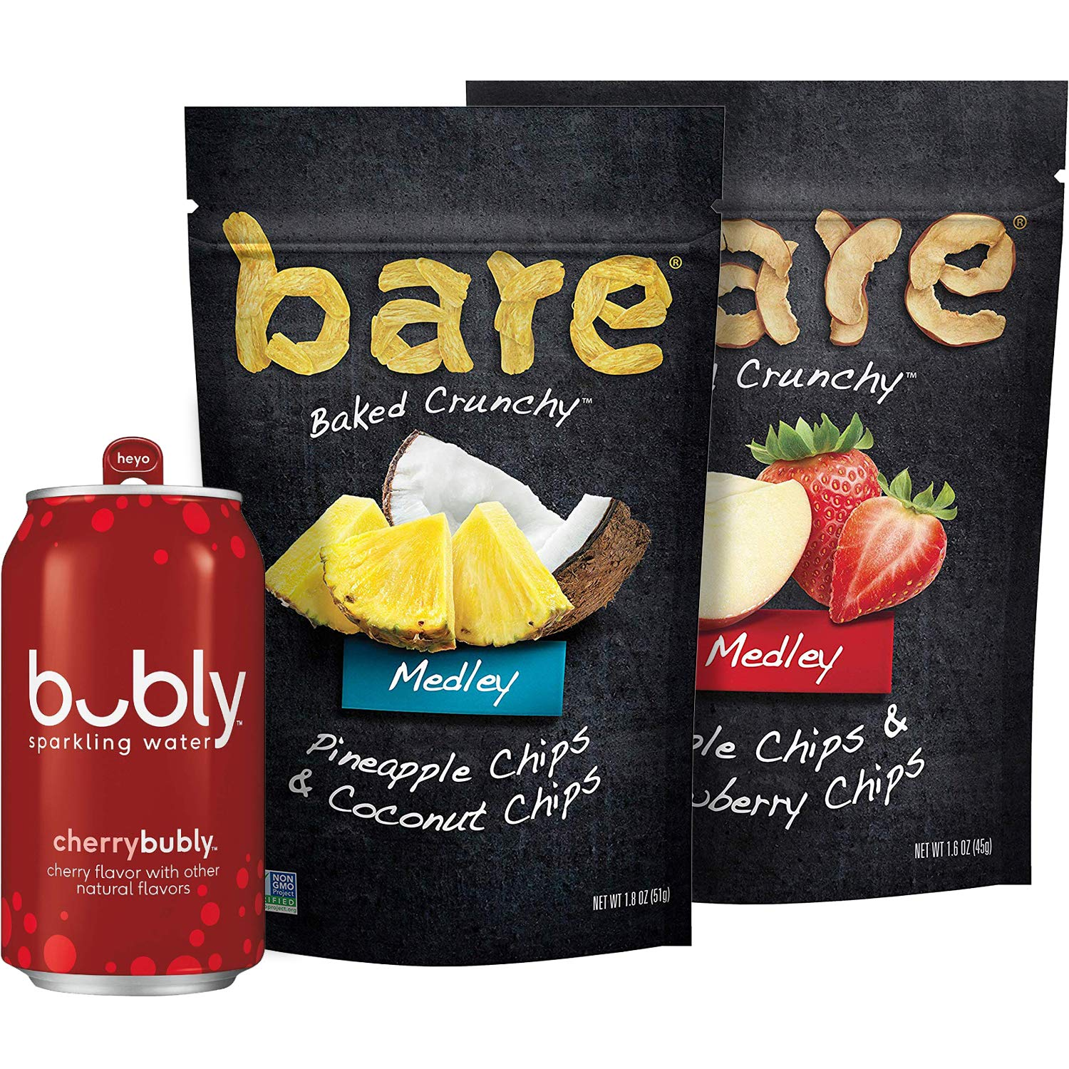 Bubly Sparkling Water, Cherry with Bare Medleys, Variety Pack - (Includes 18 12oz cans of Cherry bubly, 3 bags of Pineapple Coconut Bare Medleys and 3 bags of Apple Strawberry Bare Medleys)