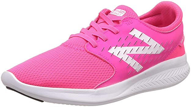 New Balance Girls' Coast V3 Running Shoe, Pink/White, 3 W US Big Kid