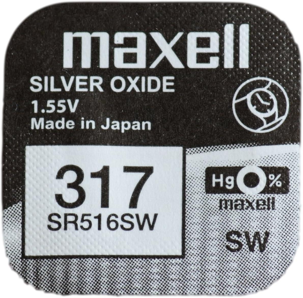 Maxell 317 SR516SW - Pila de Óxido de plata, para reloj