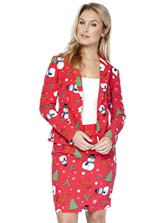 5d5b8cfdd Amazon.com: OppoSuits Christmas Suits for Women in Different Prints - Ugly  Xmas Sweater Costumes Include Blazer and Skirt: Clothing