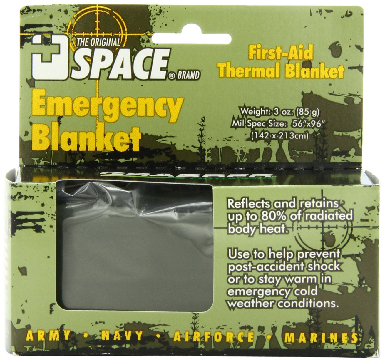 Grabber Outdoors The Original Space Brand Emergency Tactical-Survival Blanket- Olive-Drab/Silver (Pack of 3)