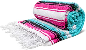 Yoga Blanket - Artisan Thick Premium Diamond Mexican Falsa Blanket Camping Blanket Authentic Handwoven Mexican Blankets and Throws Woven Blanket Yoga ...