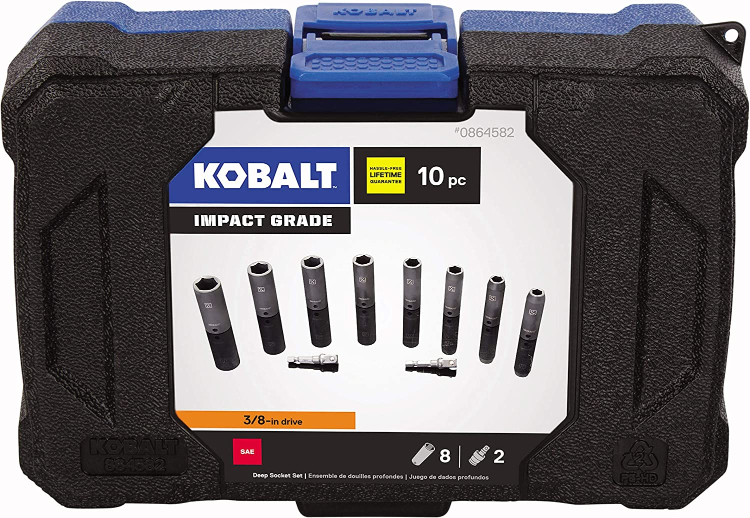 3//8 and 3//4-Inch Sockets 5//8 includes 5//16 1//2 Inch 9//16 11//16 7//16 Kobalt 338630 8-Piece 3//8-Inch Drive 6-Point Shallow Impact Socket Set
