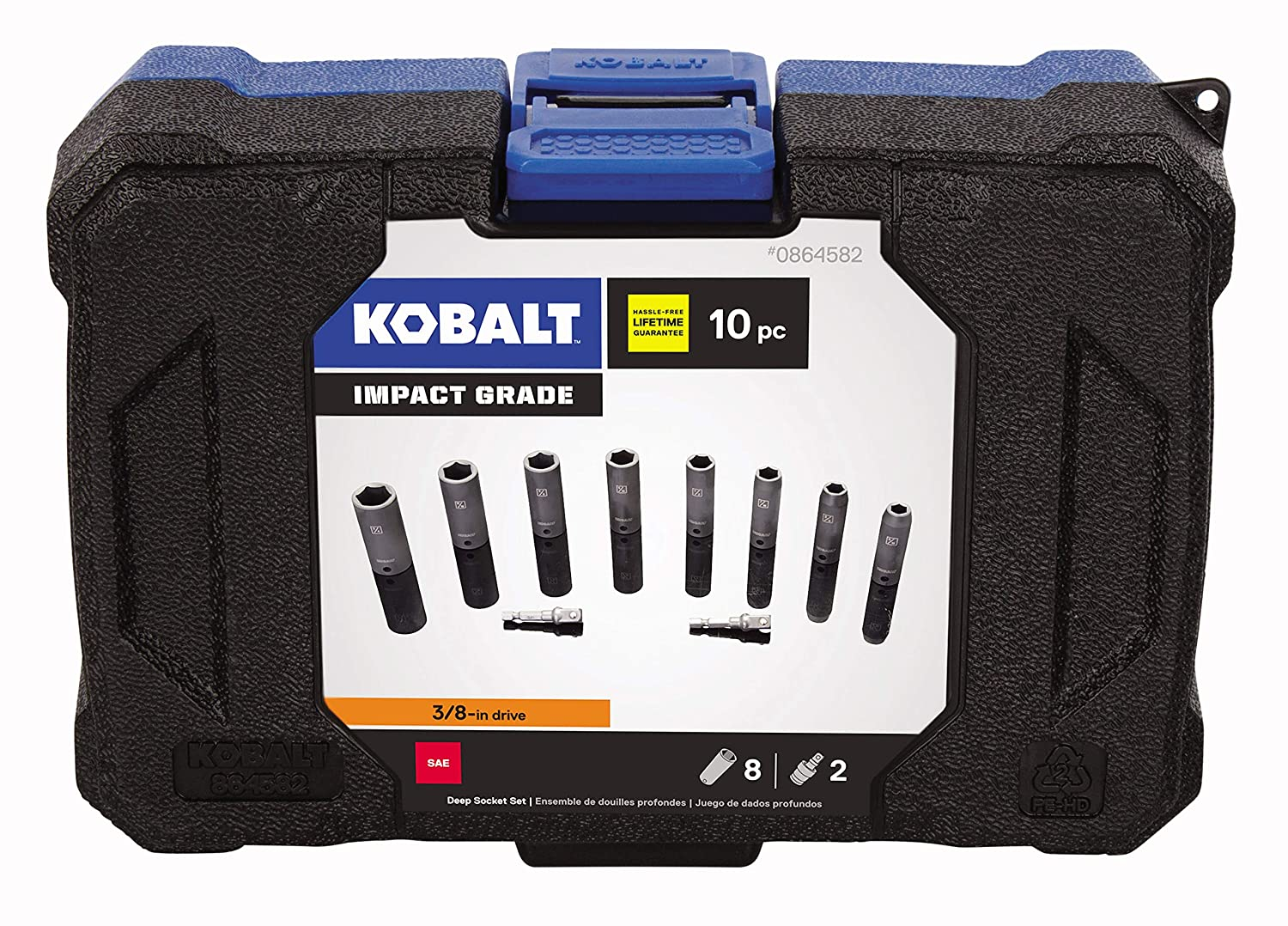 Inch and 3//4-Inch Sockets 9//16 5//8 1//2 3//8 11//16 Kobalt 864582 10-Piece 3//8-Inch Drive 6-Point Deep Impact Socket Set includes 5//16 7//16