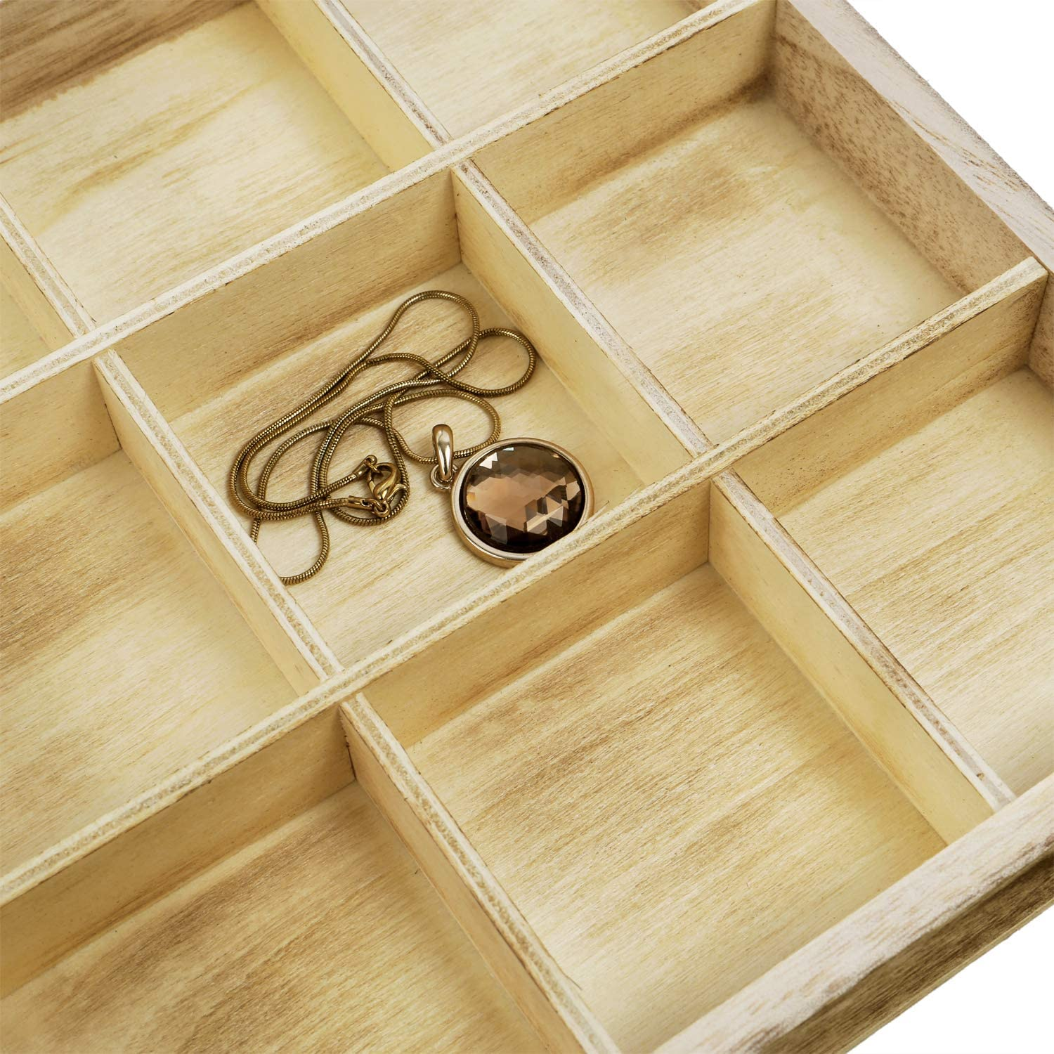 Oak Color 15 W x 8 3//4 D x 2 H Mooca Wooden Display Storage Case with Tempered Glass Lid for Jewelry and Beads with 18 Compartments Tray