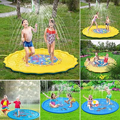 Adidome Portable Outdoor Inflatable Water Spray Play Mat Children Play Mat Beach Toys: Home & Kitchen
