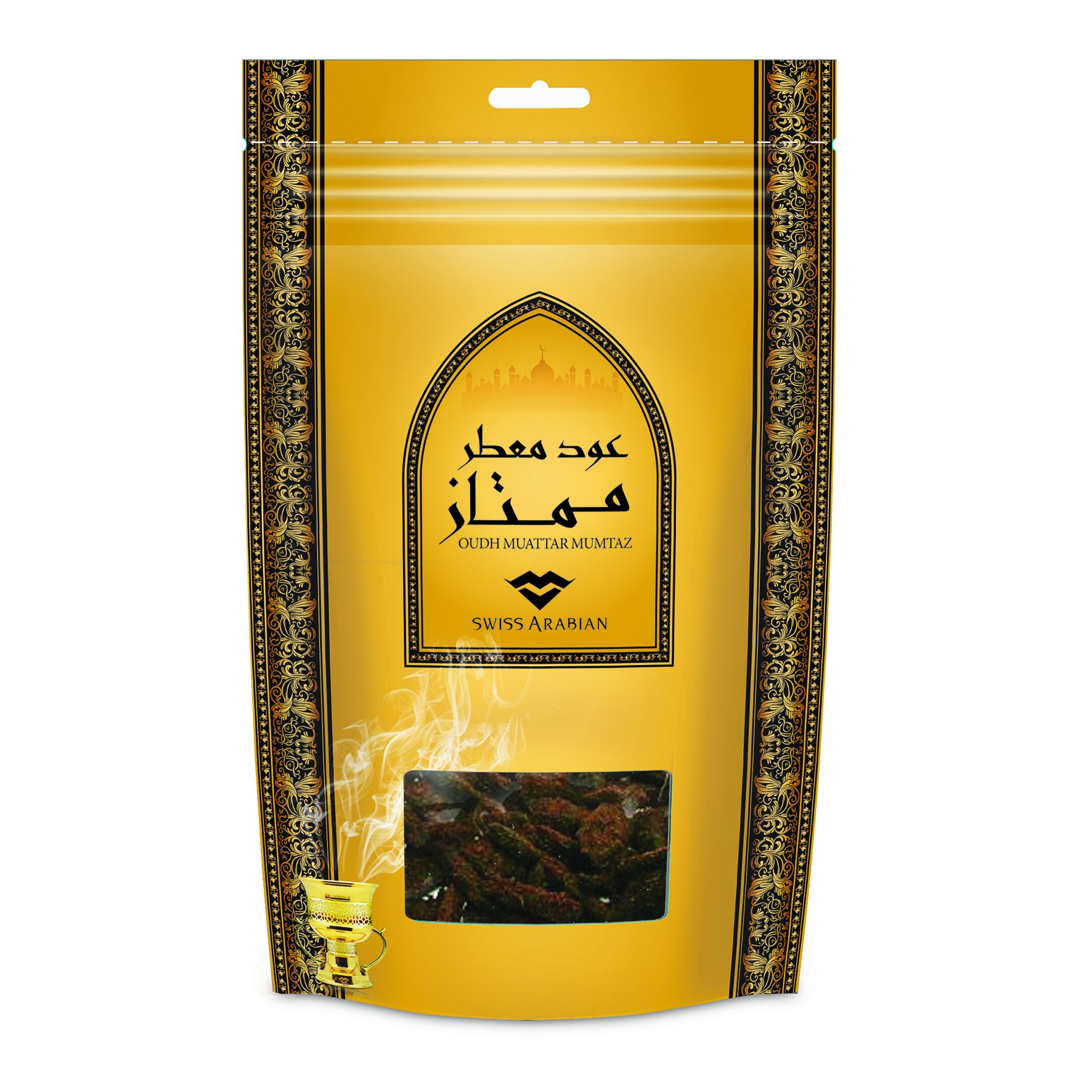Muattar Mumtaz (250g/.55 lb) Oudh Wood Bakhoor Incense | Scented Exotic Arabic Bukhoor | Use with Traditional Middle Eastern Charcoal/Electric Burner | by Oud Perfume Artisan Swiss Arabian by SWISSARABIAN