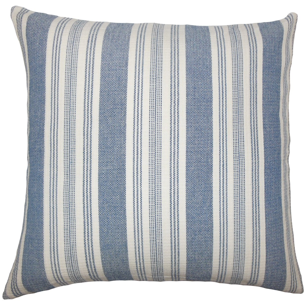 The Pillow Collection EURO-D-32805-DENIM-C100 Reiki Striped Bedding Sham, Euro/26'' x 26'', Denim