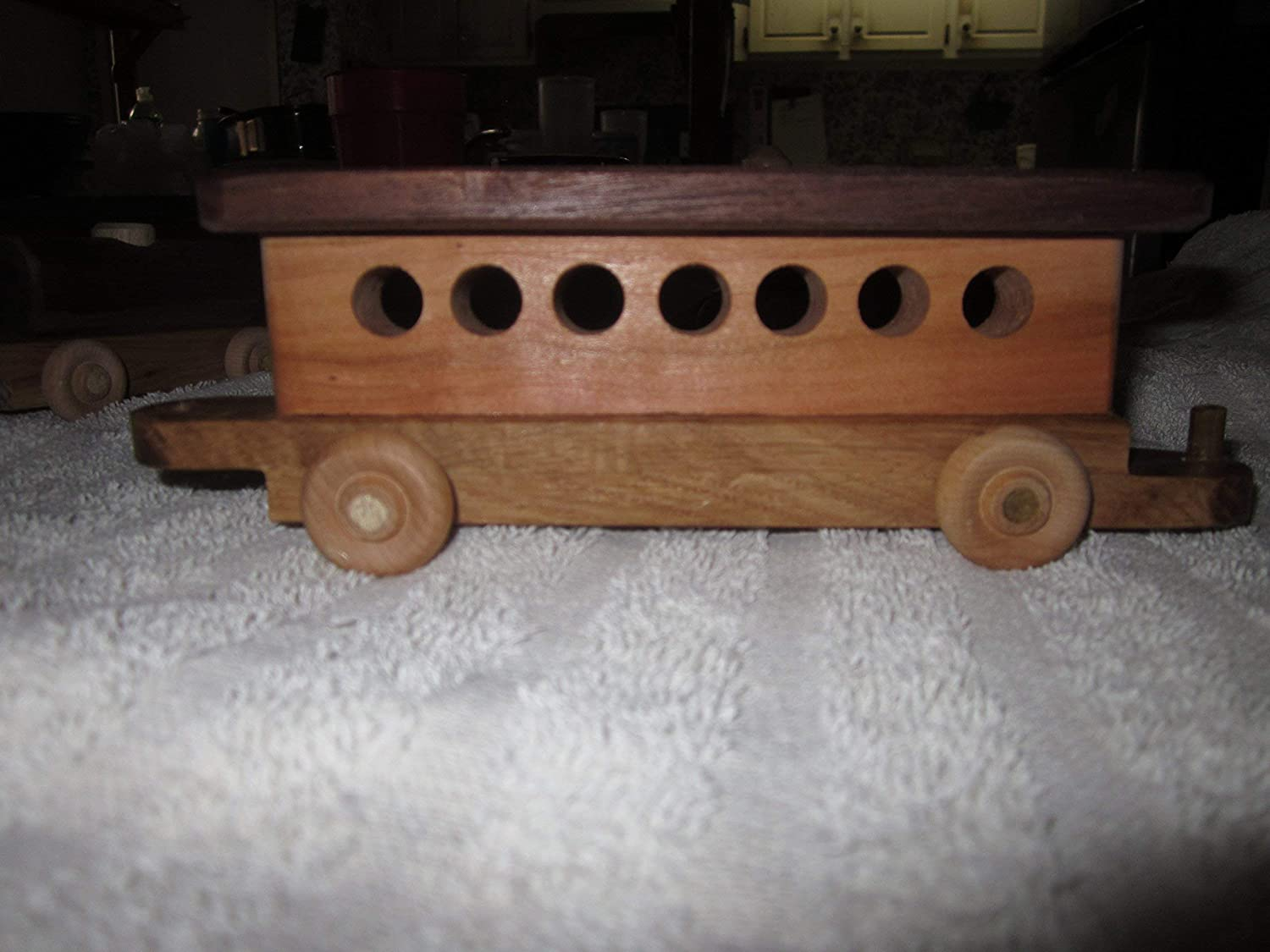 Wood Train Set With Five Cars- Engine Tanker Car Carrier and Caboose Passenger