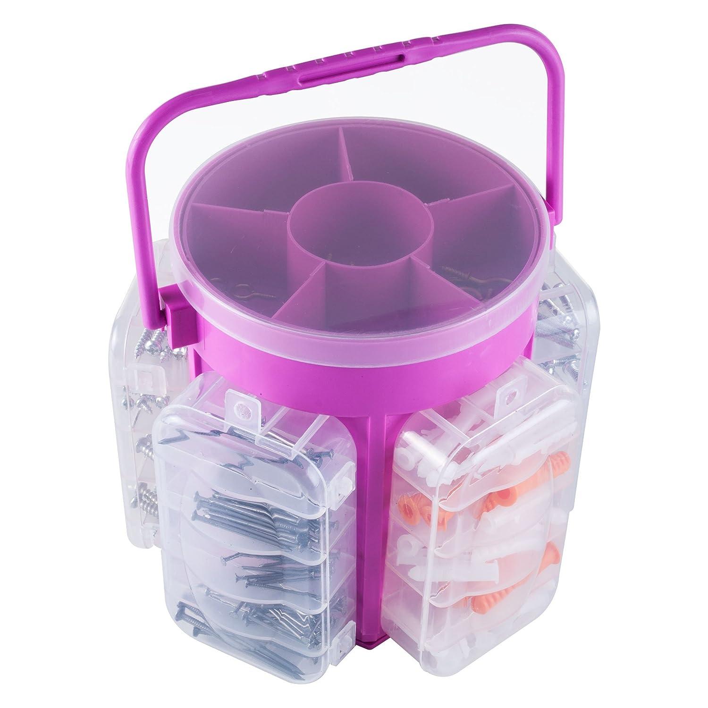 Stalwart 82-25942 Portable Tool Hardware Storage Caddy, Pink, 600-Piece