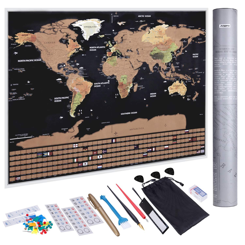 Anpro Mapa del Mundo Raspado en Oro Negro con Bandera,Mapa Mundi Rascar Grande para