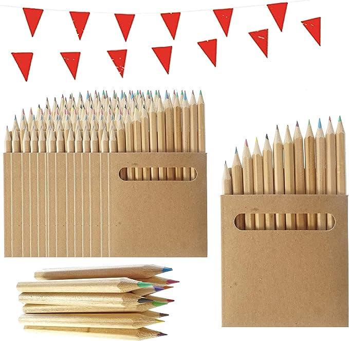 25 Sets de Lápices de Colores Infantiles Partituki. Cada uno con 12 Mini Lápices. Incluye Guirnalda de 10 m. Ideal para Packs de Fiestas de Cumpleaños Infantiles, Recuerdos de Bodas y Colegios: