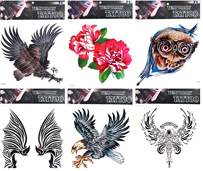Amazoncom 6 Sheets Skull Spider Tiger 9x9 Giant Temporary Tattoo