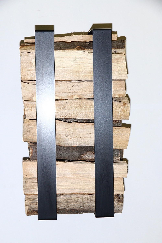 Kaminholzständer Keri für die Wand Metall Kaminholzregal Kaminholzhalter Ablage