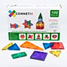 Connetix Magnetic Tiles 100 Piece Set | Creative Building Block Perfect for Boys & Girls | Toddler Toys for Stronger Magnetic Building Tiles so Your Kids Can Build Bigger More Vibrant Color Puzzles