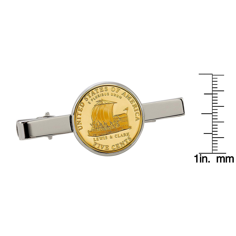 American Coin Treasures Gold-Layered Westward Journey Keelboat Nickel Silvertone Coin Tie Clip