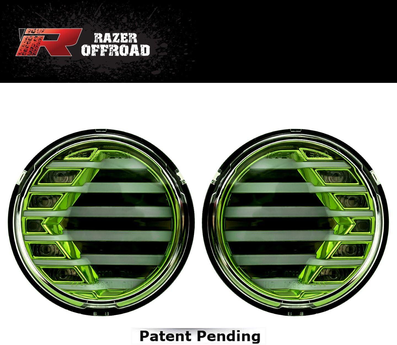Green Razer Auto Rock Crawler Green+Clear lens+Turn Signal LED Light+LED Running Light 1 Pair for 07-17 Jeep JK Wrangler
