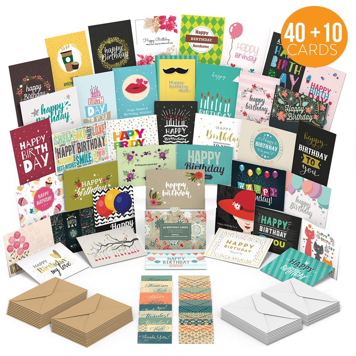 Birthday Cards Assortment with 40 Unique Designs - Blank Inside - Premium Quality Birthday Cards Bulk Box Set With Envelopes - A Happy Birthday Card For Everyone - Perfect For Employees by MyPresentForYou