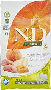 Farmina Natural & Delicious Grain-Free Pumpkin, Boar and Apple Adult Medium Breed Dry Dog Food 5.5 Pounds