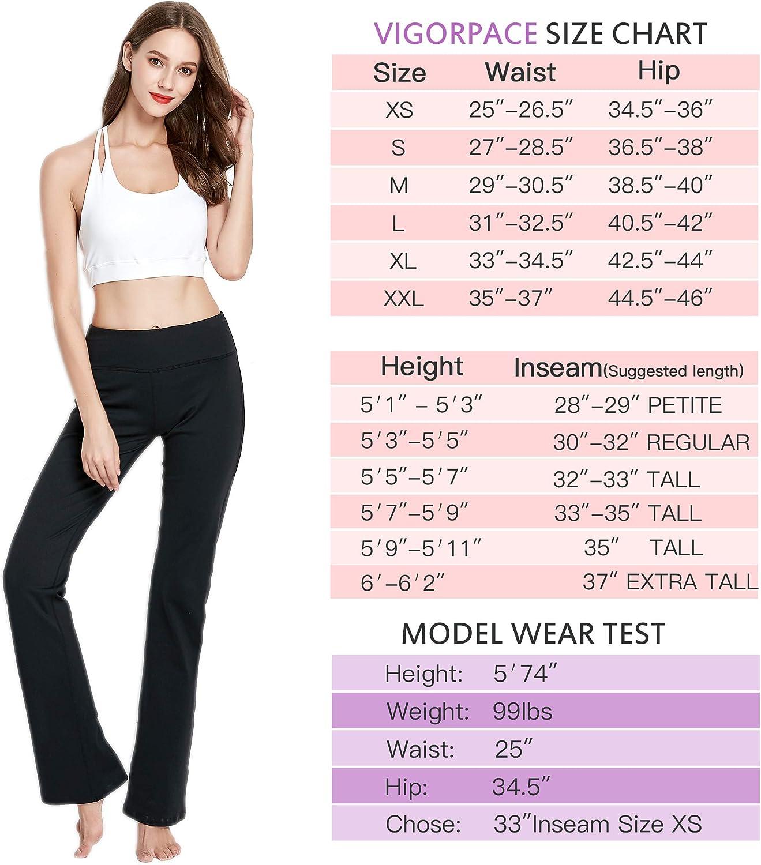 VIGORPACE 28//29//30//31//32//33//35//37 Womens Bootcut Yoga Pants Long Bootleg Flare Pants Inner Hidden Pocket