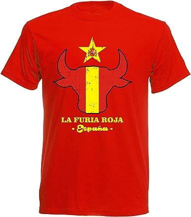 Camiseta de Manga Corta, diseño de España Espana Toro Head Futbol, Color Rojo: Amazon.es: Ropa y accesorios