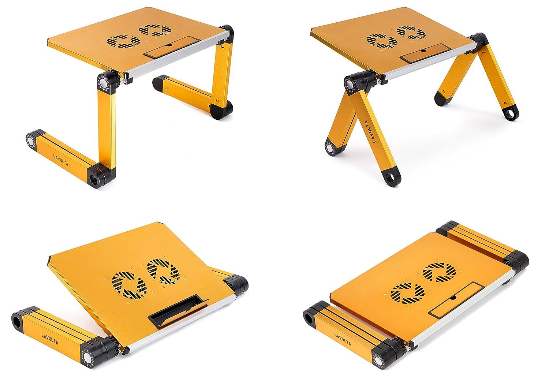 Lavolta Tavolino Pieghevole.Lavolta Tavolino Pieghevole Vassoio Della Colazione Per Notebook Pc Portatile Sistema Di Raffreddamento 2x Ventole Alluminio Giallo