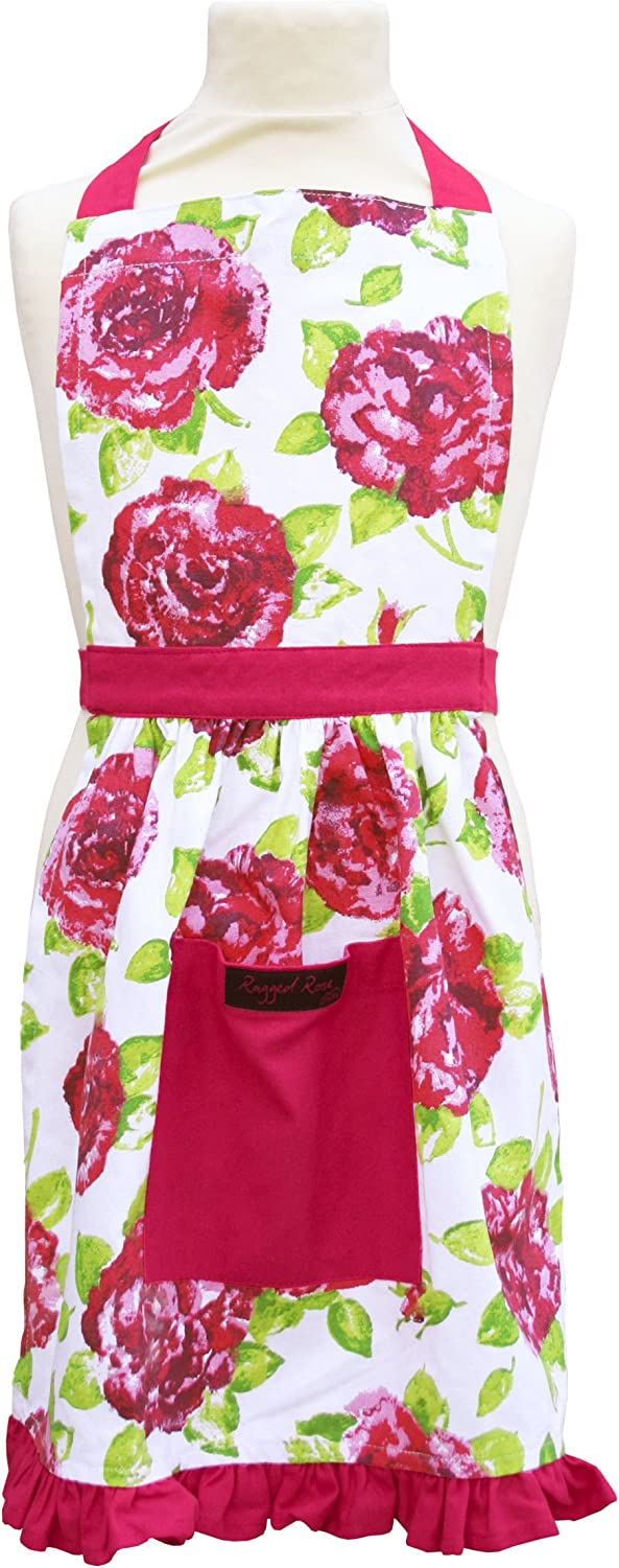 Ragged Rose Betsy Floral Girls Cotton Apron - Pink