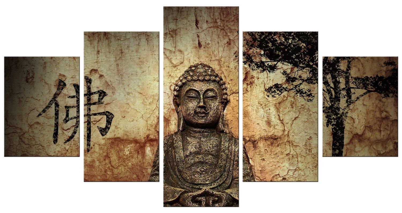 BERGER DESIGNS - Abstraktes Wandbild xxl 5 teilig günstig & modern (Buddha 5teilig 80x160 cm) Bild auf Leinwand als Kunstdruck mit Rahmen aus Holz. Bilder Motiv (Buddha Design abstrakt Baum Braun Erdfarben). Schöner wohnen mit modern Art Bilder.