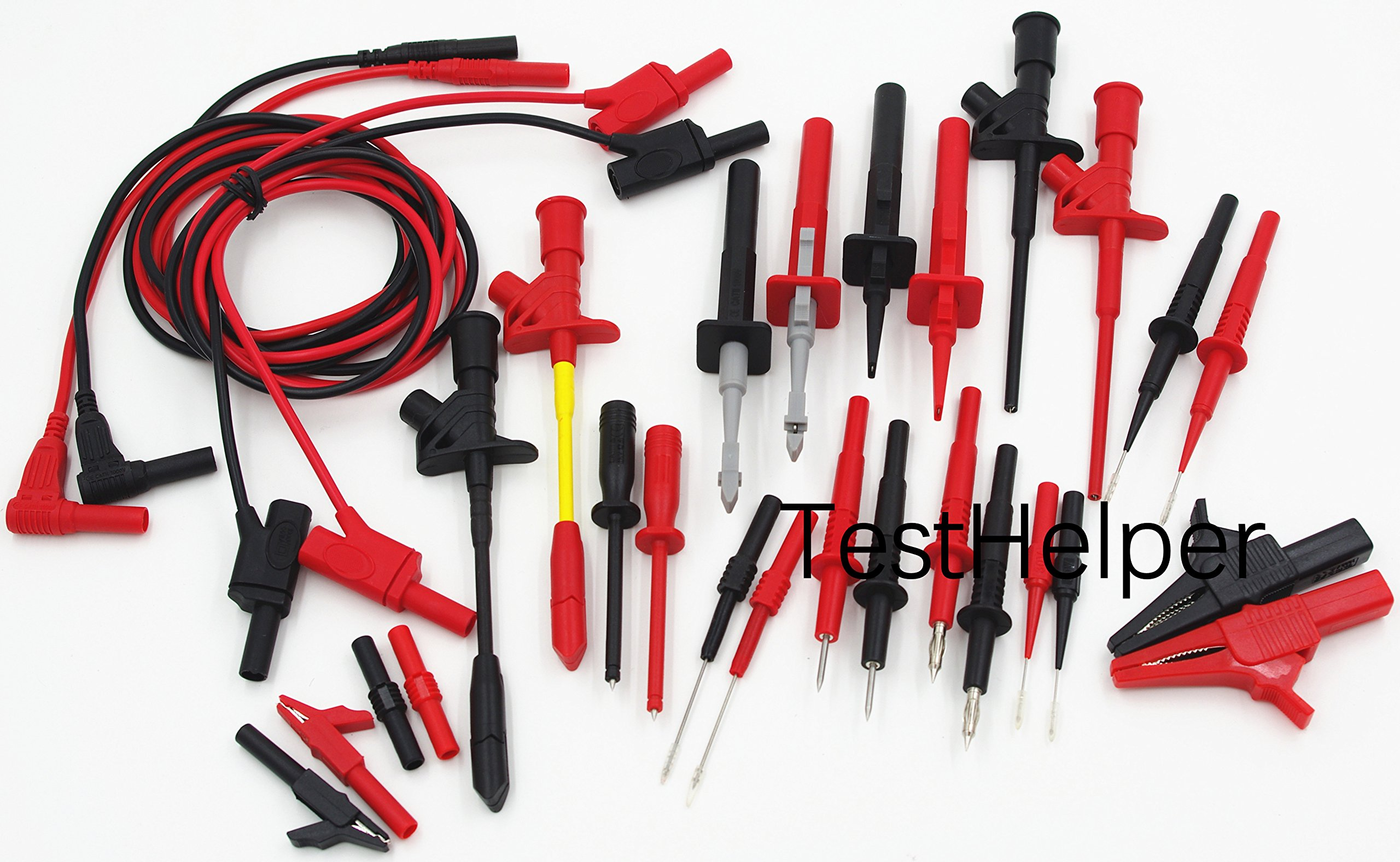 TestHelper TH-16-KIT Whole Set Multimeter Test Lead Kits Set Essential Automotive Electronic Connectors Cables Hand Tool Battery Tester & Auto Diagnostic Tools