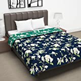 Divine Casa Twilight Floral 110 GSM Microfiber All Weather Double Dohar - Blue and Green