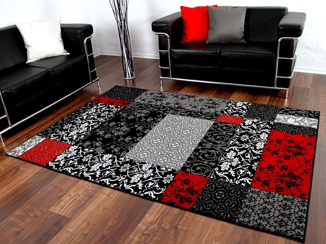 Atemberaubende ideen teppich weiß schwarz und schöne retro muster