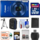 Canon PowerShot Elph 190 IS Wi-Fi Digital Camera (Blue) with 32GB Card + Case + Battery + Tripod + Kit