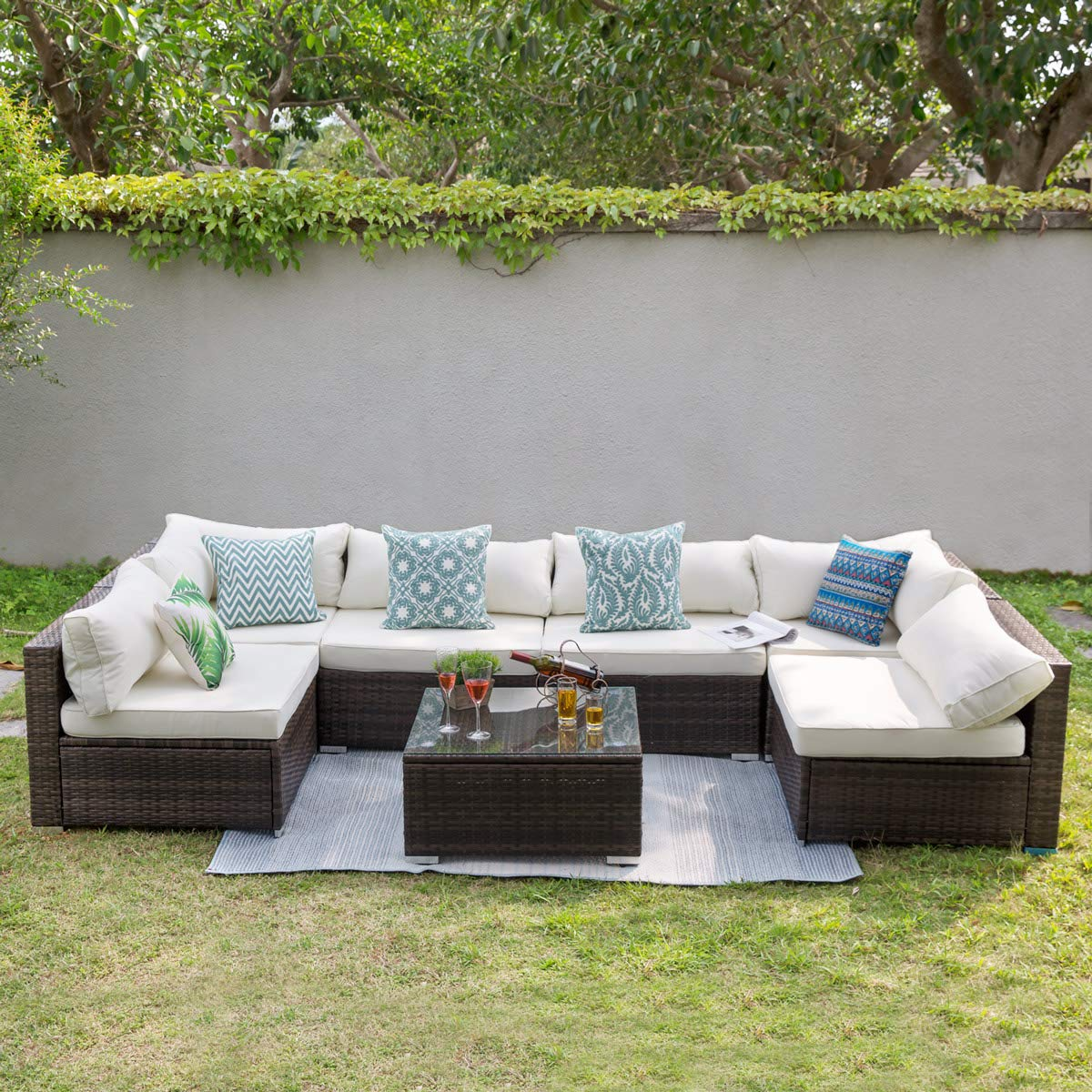 Tribesigns 7 PCS Outdoor Patio Furniture Sectional Sofa Set, Extra Large  Wicker Sofa Rattan Couch Conversation Set with Waterproof Cushions, Garden  ...