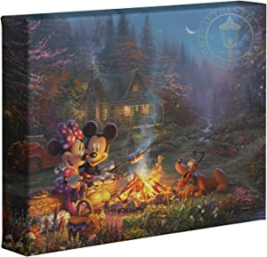 "Thomas Kinkade Studios Disney Mickey and Minnie Sweetheart Campfire 8"" x 10"" Gallery Wrapped Canvas"