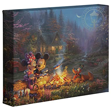 Thomas Kinkade Studios Disney Mickey and Minnie Sweetheart Campfire 8  x 10  Gallery Wrapped Canvas