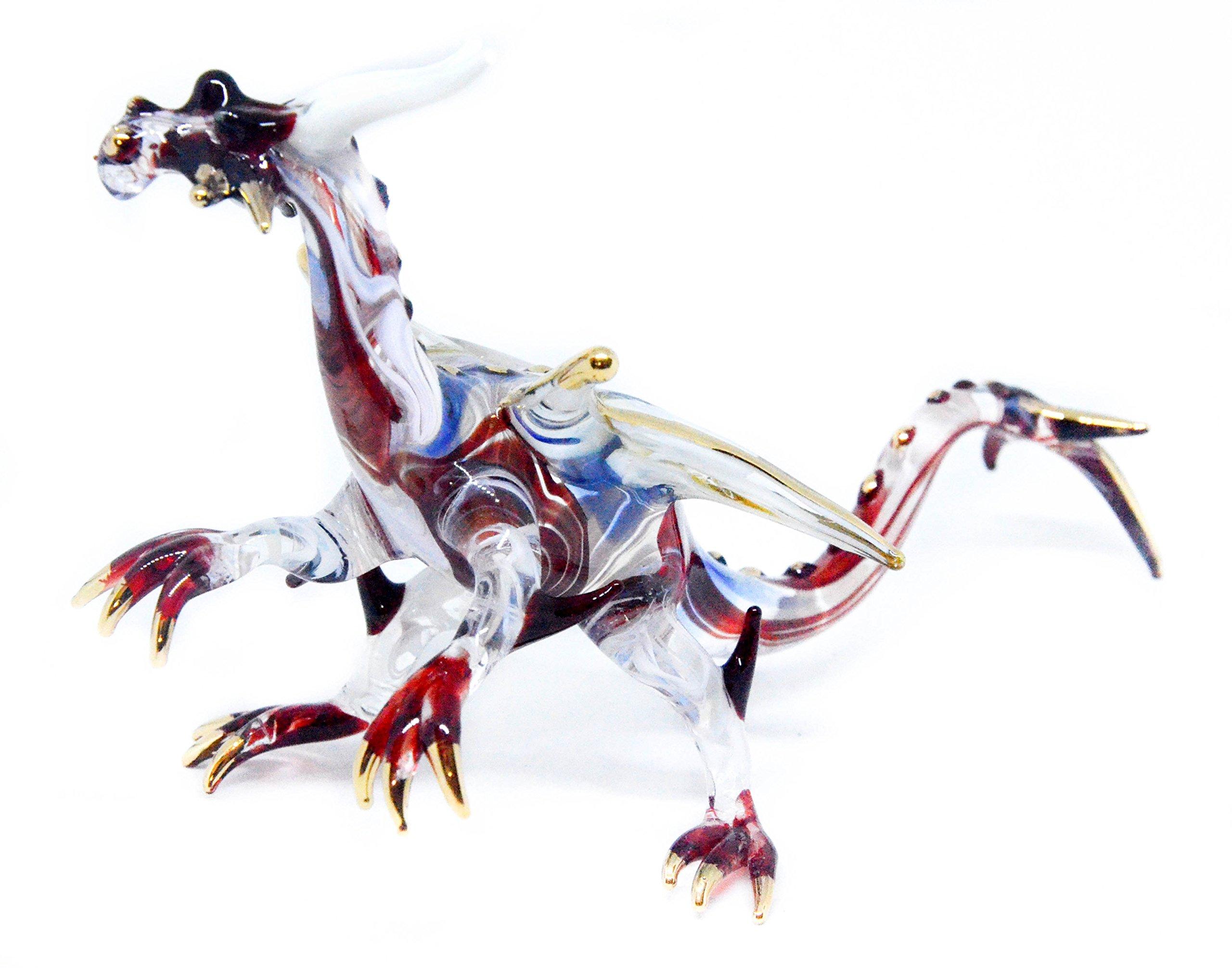 NaCraftTH Red Dragon Handicraft Figure Murano Glass Blowing Artwork Fantasy Animal Figurines Home Decor Handmade Gifts