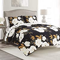 Lush Decor Zinnia Floral 3 Piece Quilt Set, King, Black/Gold