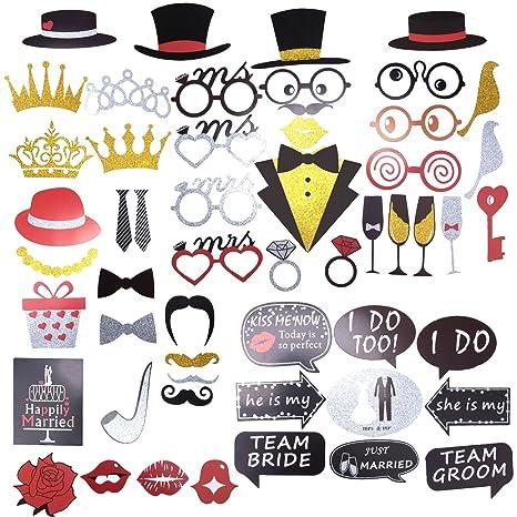 Photobooth Kit Matrimonio \u2013 ZWOOS 54pcs Fotografie Wedding Booth Puntelli  Decorazioni Photo Booth