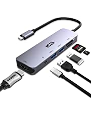 ICZI Hub USB C 6 en 1 de Aluminio Anodizado Super Fino Hub Tipo C a HDMI 4K Dex 2* USB 3.0 Lector de Tarjetas SD TF USB-PD Carga Rapida para Dispositivos USB-C con DP ALT Modo